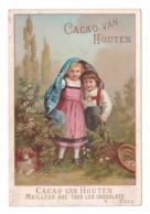 Chromo Van Houten, Enfants Et Chien Dans La Campagne, églantier, 11 X 16,5 Cm - Van Houten