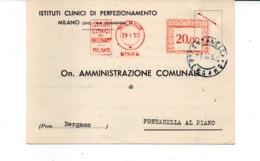 1953 EMA Affrancatura Meccanica Rossa Freistempel Milano Itstituti Clinici Di Perfezionamento Ospedale - Affrancature Meccaniche Rosse (EMA)