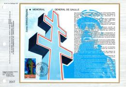 """""""  MEMORIAL AU GENERAL DE GAULLE """" Sur Feuillet CEF N°té De 1977 N° YT 1941 Parfait état FDC - De Gaulle (General)"""