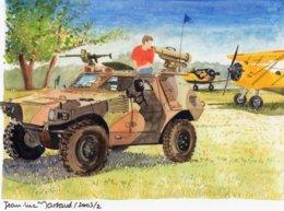 Armoured Personnel Carrier With  Biplane   - Aquarelle Par Jean-Luc Marsaud (signée)  - (A4 30x21cms Art Print) - Ausrüstung