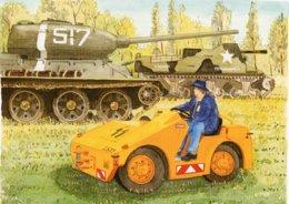 US Tanks With Their Tow Tug   - Aquarelle Par Jean-Luc Marsaud (signée)  - (A4 30x21cms Art Print) - Ausrüstung