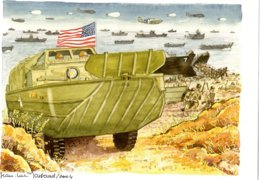 US Amphibious DUKW Vehicles Landing On Beach   - Aquarelle Par Jean-Luc Marsaud (signée)  - (A4 30x21cms Art Print) - Ausrüstung