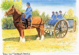 Horse-drawn Artillery Vehicle With Troops   - Aquarelle Par Jean-Luc Marsaud (signée)  - (A4 30x21cms Art Print) - Ausrüstung