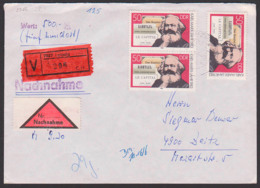"Allemagne Karl Marx 50 Pfg. DDR 2786(3), Leipzig  Wertbrief über 20g, Mit Nachnahme, ""Das Kapital"", Le Capital - [6] República Democrática"