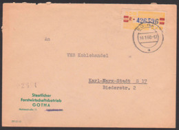 Gotha Germany, Staatlicher Forstwirtschaftsbetrieb, ZKD-Brief DDR B25R 14.1.60 - Service