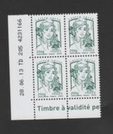 FRANCE / 2013 / Y&T N° 4777 ** : Ciappa TVP LV 250g X 4 - Coin Daté 2013 06 28 - TD 205 - Angoli Datati