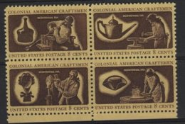 ART 13 - ETATS-UNIS N° 1456/59 Bloc De 4 Se Tenant, Neuf** Colonial American Craftsmen - Unused Stamps