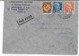 1947 - GANDON + ARMOIRIES Sur ENVELOPPE Par AVION De PARIS => MADAGASCAR - 1921-1960: Modern Period