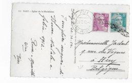 1952 - GANDON - CARTE De PARIS Avec OBLITERATION ANNULATION De BELGE HUY + BANDE LOSANGE => BELGIQUE - 1921-1960: Période Moderne