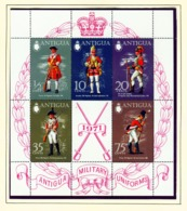ANTIGUA  -  1971 Military Uniforms Miniature Sheet Unmounted/Never Hinged Mint - Antigua Et Barbuda (1981-...)