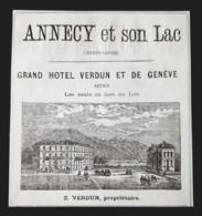 1875 GRAND HOTEL VERDUN ET DE GENEVE ANNECY HAUTE SAVOIE ALPES SUISSE LAC PUBLICITE ANCIENNE ANTIQUE ADVERTISING 19 Th - Advertising