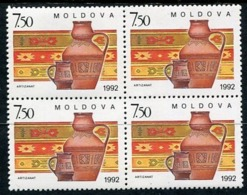 MOLDOVA 1992 Handicrafts Block Of 4 MNH / **.  Michel 43 - Moldavie