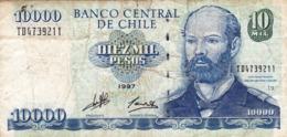 """CHILE 10000 PESOS 1997 VG-F P-157b """"free Shipping Via Registered Air Mail"""" - Chili"""