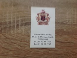 Carte De Visite De Pub    Pub Saint Germain Des Pres    Paris 6eme - Cartes De Visite
