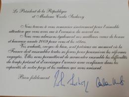 Carte De Vœux 2009 Des époux Sarkozy - Autogramme & Autographen