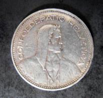 Monnaie  Suisse 5 Francs 1935 B Tête De Berger  CONFOEDERATIO HELVETICA,  P, BVRKHARD , INCT, ARGENT - Schweiz