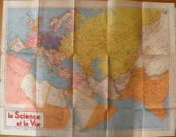 Carte Routière Europe/Asie, Supplément Science Et Vie, Avril 1940, 48 X 64 Cm - Geographical Maps