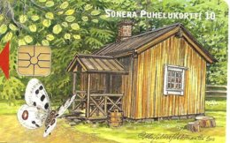 FINLAND 10 U  BUTTERFLY IMSECT  CARTOON CHIP ED.12-01 CAT No. P62 READ DESCRIPTION !! - Finlandia