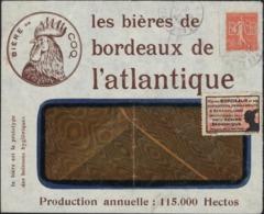 Enveloppe Illustrée Bières Bordeaux Atlantique Bière Ou Coq Vignette Mercure Bordeaux Exposition + YT 199 Perofré BAB - Marcophilie (Lettres)