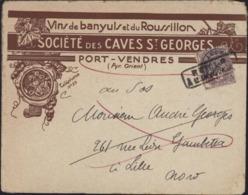 Enveloppe Illustrée Vin De Banyuls Et Roussillon Sté Caves St Georges Port Vendres 66 Preon 43 + Cachet Retour Envoyeur - Marcofilia (sobres)