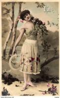 """FANTAISIE FEMME FRAU LADY   """"ÉTÉ""""  Editeur  J.K   Carte écrite En 1906     2 Scans  TBE - Donne"""