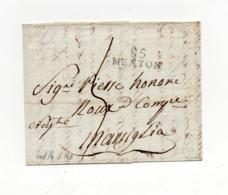 !!! MARQUE POSTALE DE MENTON DE 1803 POUR MARSEILLE AVEC TEXTE - Poststempel (Briefe)