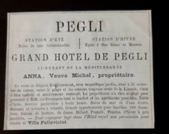 1875 PEGLI GRAND HOTEL GENOVA GENES ITALIE ANNA VEUVE MICHEL ITALIA PUBBLICITA PUBLICITE ANCIENNE ANTIQUE AD - Publicités
