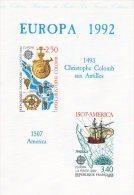 """"""" EUROPA 1992 :  DECOUVERTE DE L'AMERIQUE / C. COLOMB """" Sur Document Officiel De 1992 4 Pages. 2 X N° YT 2755 2756 DPO - Christopher Columbus"""
