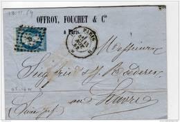 Paris Losange D (GL) + Cachet 1521 1859 Napoleon  ND 20c N°YT 14 I, Verso Ambulant Paris Au Havre  3° Brig C - 1849-1876: Période Classique
