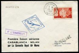 15072 MAROC N°359° Premier Vol Casablanca-Milan Caravelle  Air Maroc  Casablanca Du 28.6.1961   TB - Marokko (1956-...)