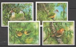 B002 1989 COOK ISLANDS WWF FAUNA BIRDS GOLD 4BL MNH - W.W.F.