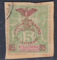 Nlle Calédonie N° 71 O  : Cinquantenaire Présence Française : 5 C. Vert-jaune Oblitération Faible Sur Fragment Sinon TB - Gebruikt
