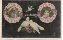 """L80b282 - """"Mille Baisers"""" - Deux Fillettes Dans Des Ronds En Fleurs Et Deux Colombes KF - Fancy Cards"""