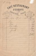 548 Cafe Restaurant D'Europe Naples 1888 Dated Invoice - Otros