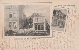 """CPA:GRUSS AUS SAARALBEN (57) EXPLOSION RESTAURANT WIRTSCHAFT """"GASEXPLOSION AM DEZEMBER 1900""""..ÉCRITE - Sarralbe"""