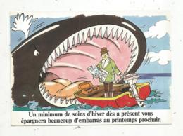 Cp, Publicité JOHNSON ,moteurs Hors Bord , Humour ,unminimum De Soins D'hiver... ,voyagée1986 ,2 Scans - Publicité