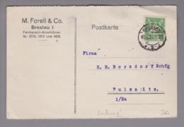 DR 1926-06-10 Postkarte Mit Perfin M.Forell & Co. Breslau - Deutschland