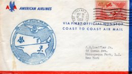 American Airlines NEW YORK Via First Official Non Stop Coast To Coast,le 29 Nov. 1953. - Postal History