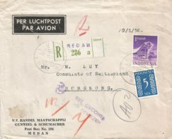 Indonesia 1950 Medan Currency Control Censor Registered Cover To Consulate Switzerland Hong Kong Via Singapore - Hong Kong (...-1997)