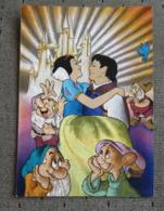 1 Carte Postale Disney Blanche Neige, Reflet Métal - Disney