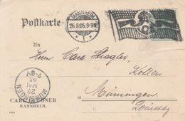 Allemagne Flamme Drapeau Mannheim Sur Carte 1905 - Deutschland