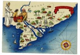 """Carte Illustrée Contour Géographique """"Cochinchine"""" Rose Des Vents - Edition Barré Dayez - 1327 A - Pas Circulé - Maps"""