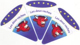 """Algérie - 3 étiquettes De  Fromage Fondu """" Les Deux Vaches"""" Nouveau Design: Tête Plus Grosse (Voir 2e Scan Comparatif). - Fromage"""