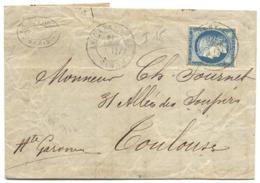 Paris, Cachet à Date Rue St. Antoine, LAC Pour Toulouse Sur N. 60, Ambulant Au Verso, 7-8-1876 - 1849-1876: Période Classique