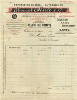PAPETERIES DU MIDI  AUTOMOBILES  Talbot Ariès Benjamin Latil Edouard Soulé & Cie Exportation Maroc Madaga 30 Avril 1927 - Verkehr & Transport