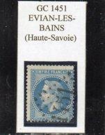 Haute-Savoie - N° 29B (déf) Obl GC 1451 Evian-les-Bains - 1863-1870 Napoléon III Lauré