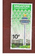 SINGAPORE   -  SG 411  -    1981  CHANGI AIRPORT: CONTROL TOWER   -  USED ° - Singapore (1959-...)