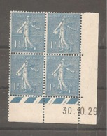 BLOC  De 4    1 Fr   Semeuse   Coin Date   1929 - ....-1929