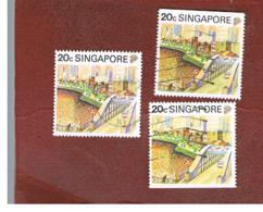 SINGAPORE   -  SG 626  -    1990  TOURISM:  SINGAPORE RIVER (3 DIFFERENT PERFORATIONS)  -  USED ° - Singapore (1959-...)