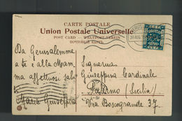 1925 Jerusalem Palestine First Krag Machine Cancellation Postcard Cover To Italy - Palestine